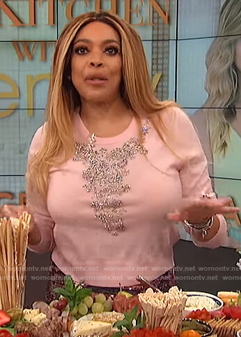 Wendy's pink embellished sweater on The Wendy Williams Show