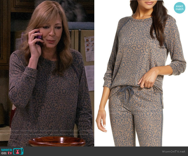 PJ Salvage Leo Sport Long Sleeve Pajama Top worn by Bonnie Plunkett (Allison Janney) on Mom