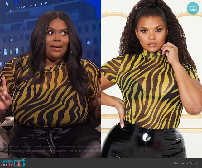 Zebra Print High Neck Bodysuit by Pretty Little Thing worn by Nina Parker  on E! News