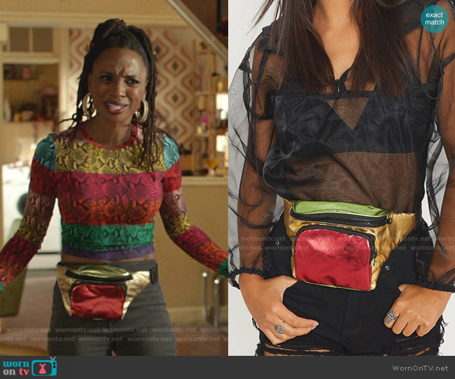 Metallic Bum Bag by Metallic Bum Bag by Pretty Little Thing worn by Veronica Fisher (Shanola Hampton) on Shameless