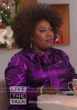 Sheryl's purple metallic blouse on The Talk