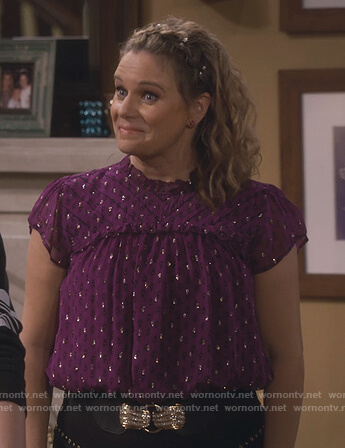 Kimmy's purple printed metallic top on Fuller House