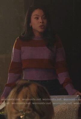 Mariana's purple striped sweater on Good Trouble