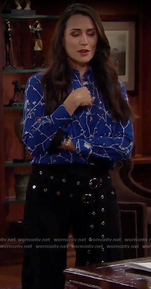 Quinn's blue floral button down blouse on The Bold and the Beautiful