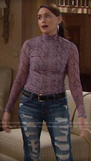 Quinn's purple snake print top on The Bold and the Beautiful