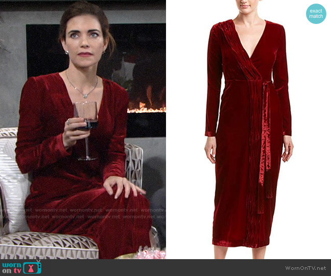 Rachel Zoe Aly Velvet Dress worn by Victoria Newman (Amelia Heinle) on The Young & the Restless