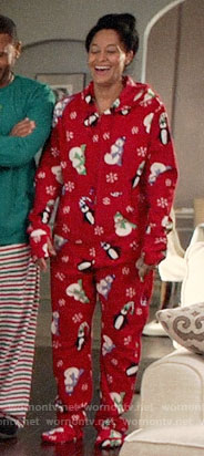 Rainbow's red snowman print onesie on Black-ish