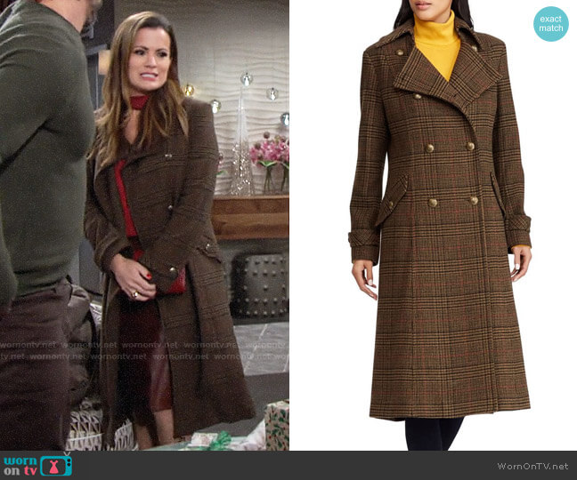 LAUREN Ralph Lauren Plaid Wool Blend Coat worn by Chelsea Lawson (Melissa Claire Egan) on The Young & the Restless