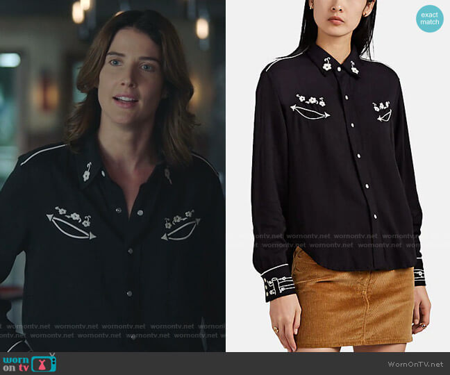 The 40s Embroidered Western Shirt by Re/Done worn by Dex Parios (Cobie Smulders) on Stumptown