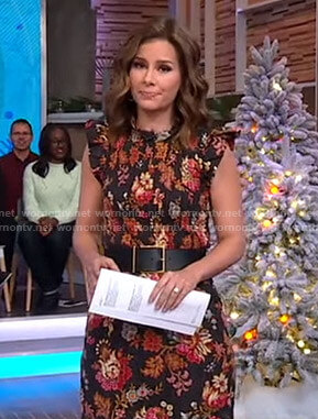 Rebecca's black floral smocked dress on Good Morning America