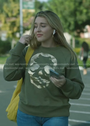 Rebecca's metallic skull sweatshirt on Stumptown