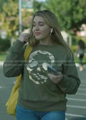 Rebecca's metallic skull sweatshirt on Stumptown