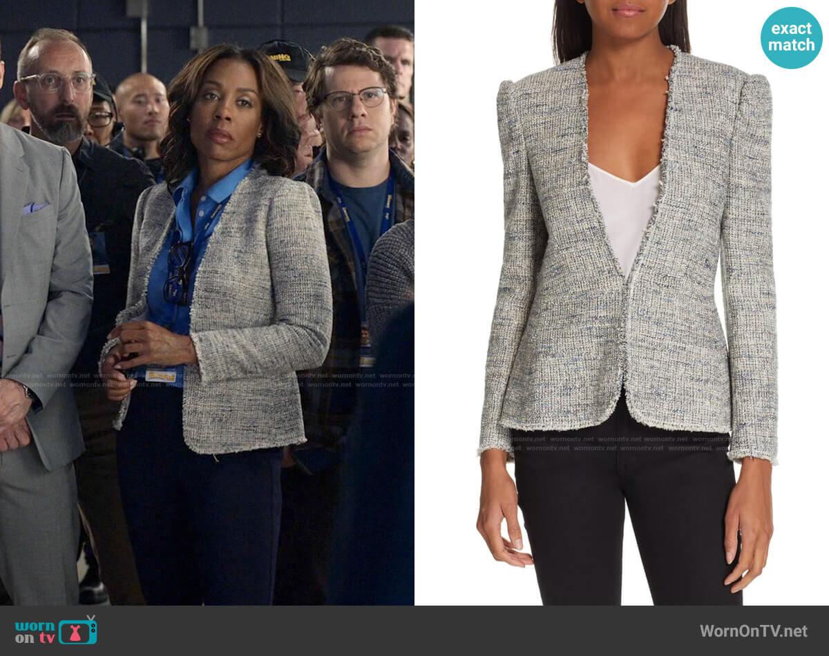 Rebecca Taylor Tweed Peplum Jacket worn by Mia Jordan (Karen Pittman) on The Morning Show