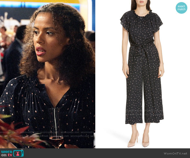 Rebecca Taylor Painted Dot Jumpsuit worn by Hannah Shoenfeld (Gugu Mbatha-Raw) on The Morning Show