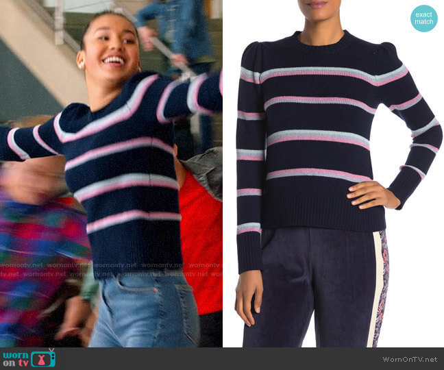 Rebecca Taylor Wool Blend Multi Stripe Pullover worn by Gina (Sofia Wylie) on High School Musical The Musical The Series