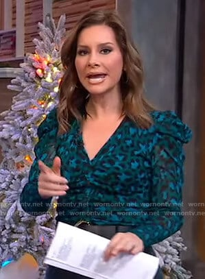 Rebecca's blue leopard print v-neck top on Good Morning America