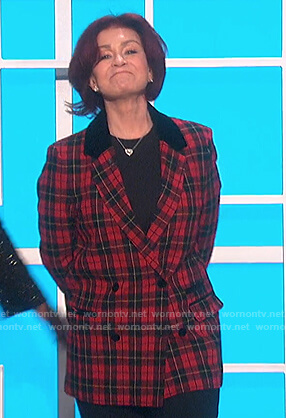 Sharon's red plaid double breasted blazer on The Talk