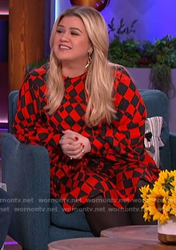 Kelly's red check dress on The Kelly Clarkson Show