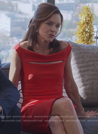 Diane's red cutout sheath dress on Good Trouble