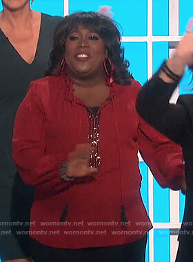 Sheryl's red embellished tie top on The Talk