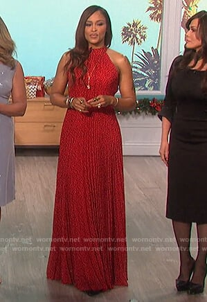 Eve's red leopard halter maxi dress on The Talk