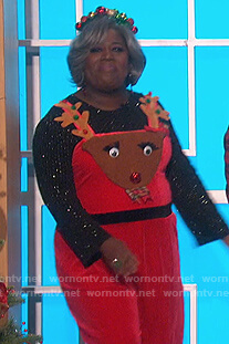 Sheryl's red reindeer jumpsuit on The Talk