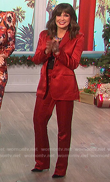 Marie's red satin blazer and pants on The Talk
