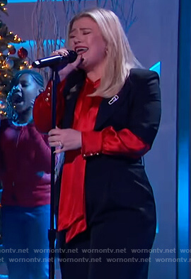 Kelly's red satin tie neck blouse on The Kelly Clarkson Show