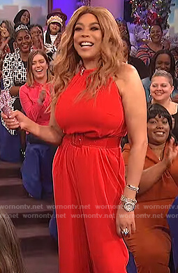 Wendy's red sleeveless jumpsuit on The Wendy Williams Show