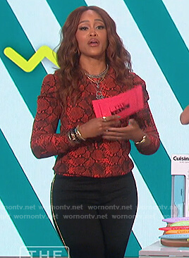 Eve's red snakeskin sweatshirt on The Talk