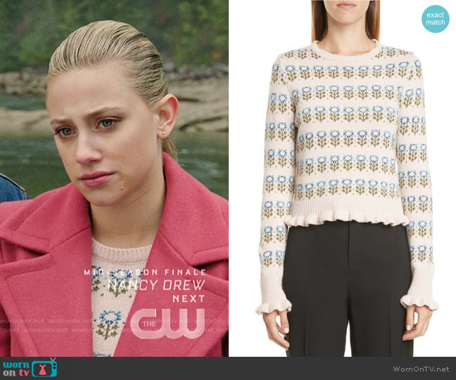 RED Valentino Floral Jacquard Sweater worn by Betty Cooper (Lili Reinhart) on Riverdale