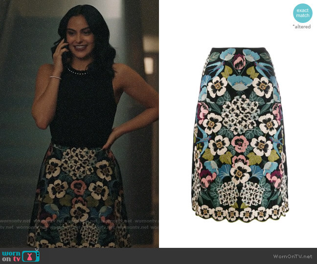 RED Valentino Embroidered Floral Skirt worn by Veronica Lodge (Camila Mendes) on Riverdale