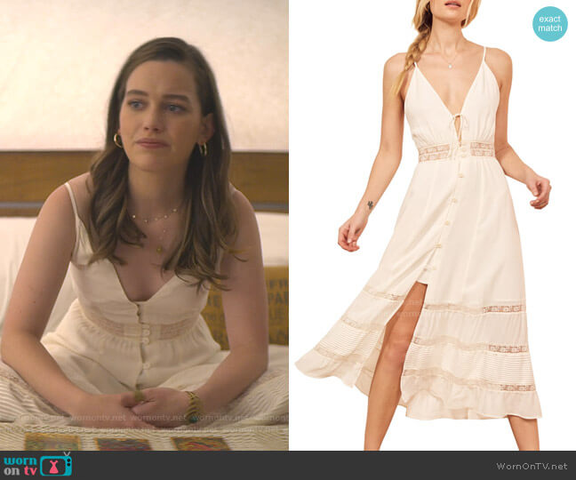 Shelley Sleeveless Lace Midi Dress by Reformation worn by Love Quinn (Victoria Pedretti) on You