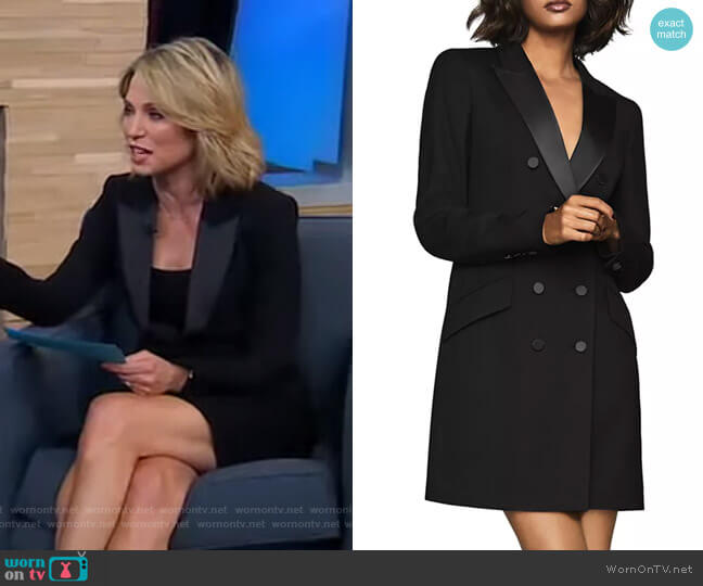 Sofia Satin-Trimmed Tux Dress by Reiss worn by Amy Robach  on Good Morning America