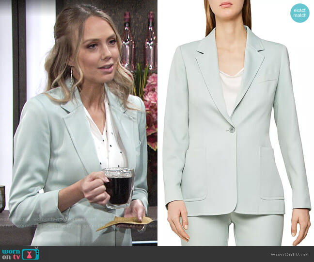 Reiss Evie Blazer in Aqua worn by Abby Newman (Melissa Ordway) on The Young & the Restless