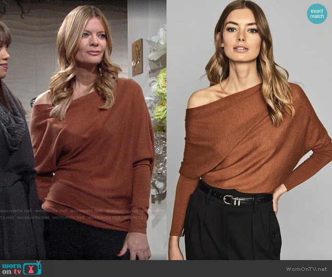 Reiss Harper Top in Rust worn by Phyllis Summers (Michelle Stafford) on The Young & the Restless