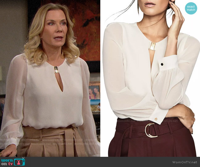 Reiss Rhea Blouse worn by Brooke Logan (Katherine Kelly Lang) on The Bold & the Beautiful