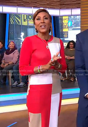 Robin's colorblock knit dress on Good Morning America