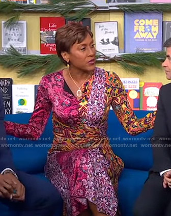 Robin's mixed print midi dress on Good Morning America