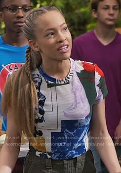 Ava's printed ribbed top on Bunkd