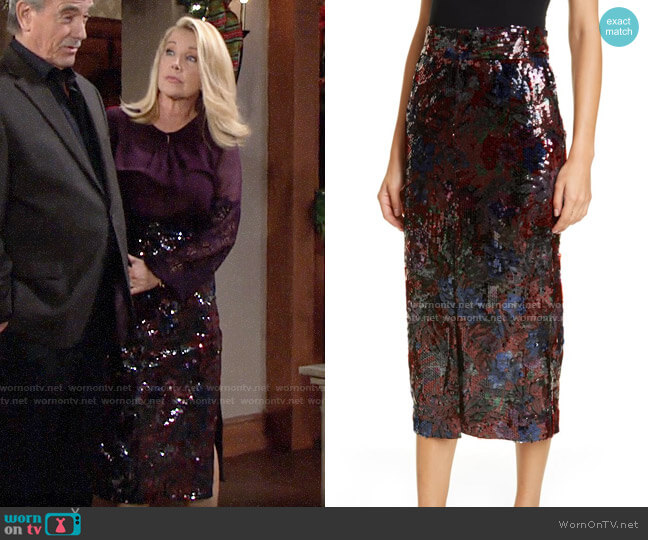 Roseanna Woodcut Sequin Midi Pencil Skirt worn by Nikki Reed Newman (Melody Thomas-Scott) on The Young & the Restless