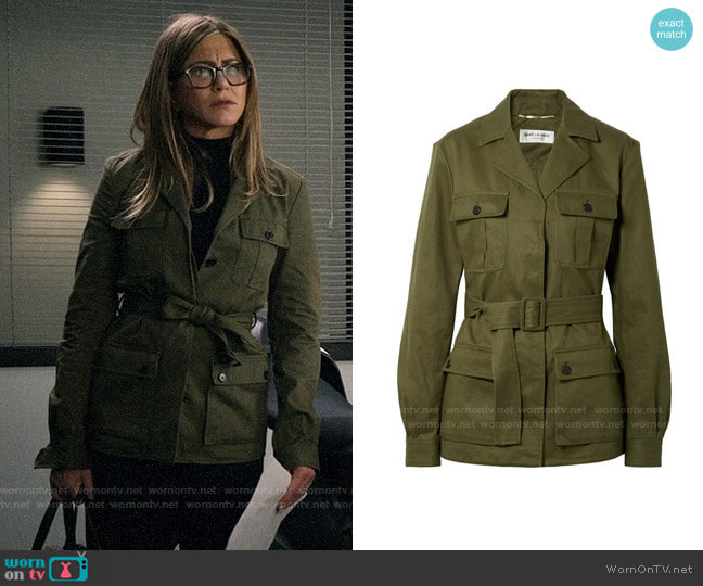Saint Laurent Belted cotton and ramie-blend gabardine jacket worn by Alex Levy (Jennifer Aniston) on The Morning Show