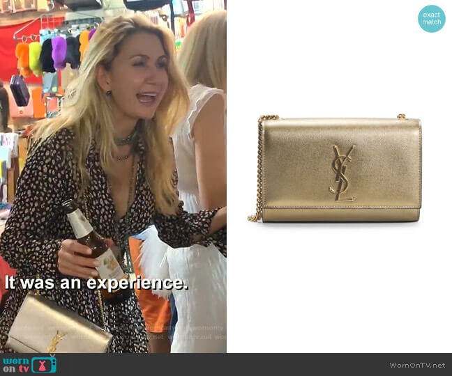 Kate Metallic Leather Shoulder Bag by Saint Laurent worn by Kary Brittingham  on The Real Housewives of Dallas