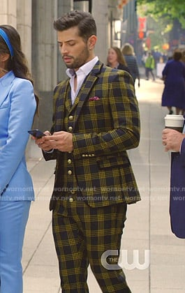 Sam's black and yellow check suit on Dynasty