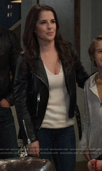 Sam's leather moto jacket on General Hospital