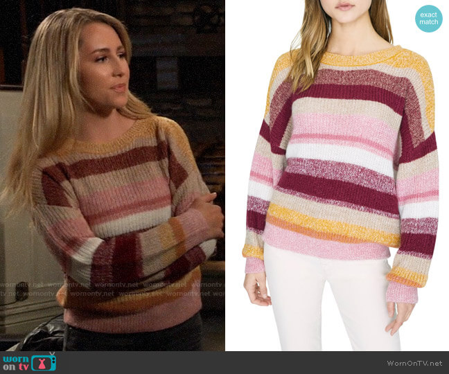 Sanctuary Blur the Lines Stripe Crewneck Sweater worn by Josslyn Jacks (Eden McCoy) on General Hospital