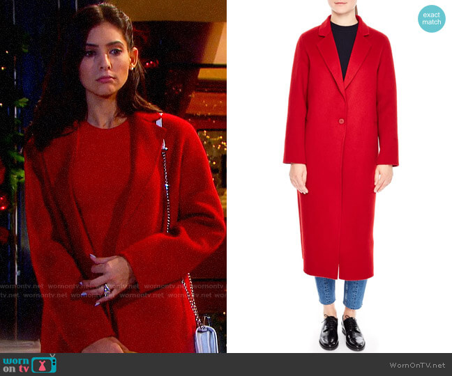 Sandro Long Wool Coat worn by Gabi Hernandez (Camila Banus) on Days of our Lives