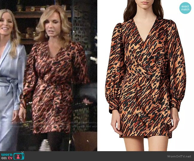 Sandro Lunas Abstract Leopard-Print Silk Mini Dress worn by Lauren Fenmore (Tracey Bregman) on The Young & the Restless