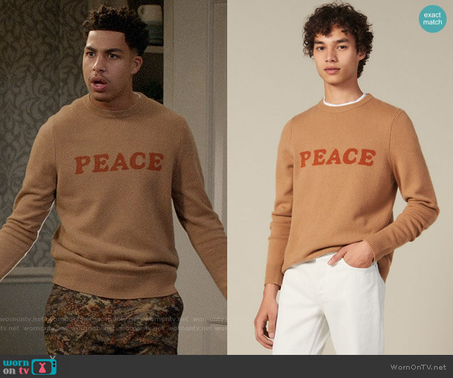 Sandro Peace Wool & Cashmere Crewneck Sweater worn by Andre Johnson Jr (Marcus Scribner) on Blackish