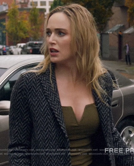Sara's green notched tank top and herringbone coat on Legends of Tomorrow